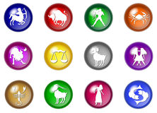 12 colorful zodiac web buttons. Illustration of 12 colorful zodiac web buttons Stock Images