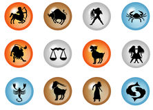 12 colorful zodiac web buttons Stock Images