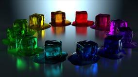 12 cubi di ghiaccio colorati nel cerchio Fotografia Stock