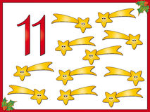 12 días de la Navidad: cometa 11 ilustración del vector