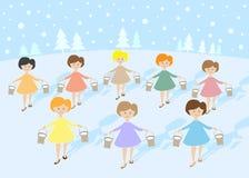12 dagen van Kerstmis: 8 meisjes het Melken Royalty-vrije Stock Afbeeldingen