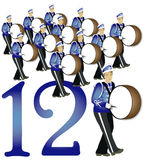 12 Days of Christmas: 12 Drummers Drumming. Twelve marching band drummers in uniform. Part 12 of the 12 Days of Christmas Vector Illustration