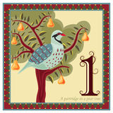 The 12 Days of Christmas. Religious card with The 12 Days of Christmas - 1-st day - A partridge in a pear tree Royalty Free Stock Photo