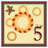 The 12 Days of Christmas. 5th Day - Five Gold Rings Stock Image