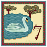 The 12 Days of Christmas. 7th Day - Seven Swans A Swimming Additional file EPS AI 8 Royalty Free Illustration