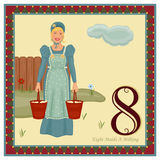 The 12 Days of Christmas. 8th Day - Eight Maids A Milking Vector illustration saved as EPS AI 8, no gradients, no effects, easy print - pending inspection royalty free illustration