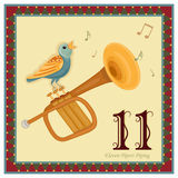 The 12 Days of Christmas. 11-th Day - Eleven Pipers Piping. Vector file - EPS AI 8 is now pending Dreamstime inspection royalty free illustration
