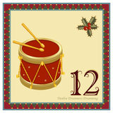 The 12 Days of Christmas. 12-th Day - Twelve Drummers Drumming. Vector file - EPS AI 8 is now pending Dreamstime inspection Stock Illustration