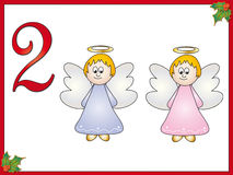 12 days of christmas: 2 angels. Part two of collection 12 day of christmas Royalty Free Stock Images