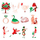 12 Days of Christmas. Vector Illustration Card of the 12 days of Christmas icons Royalty Free Illustration
