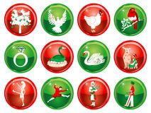 12 Days of Christmas. Vector Illustration Card of the 12 days of Christmas buttons Stock Illustration
