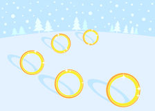 12 Days of Christmas: 5 Golden Rings. 12 Days of Christmas. Golden Rings Royalty Free Stock Photography