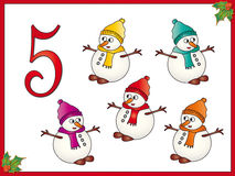 12 days of christmas: 5 Snowman. Part five of collection 12 day of christmas Royalty Free Stock Photos