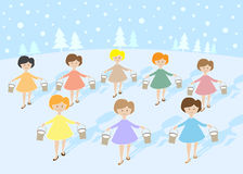 12 Days of Christmas: 8 Maids A Milking. 12 Days of Christmas. Maids A Milking vector illustration