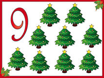 12 days of christmas: 9 Christmas trees Royalty Free Stock Images