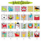 12 Days of Christmas and Advent Calendar. Fun Advent Calendar with cute Christmas images vector illustration