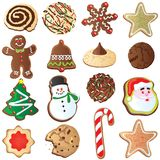 12 Days of Cute Christmas cookies. Big set of Cute Christmas cookies isolated on white. One for each day of Christmas Royalty Free Stock Photo
