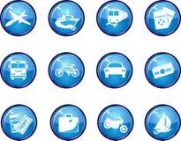 12 de glanzende Blauwe VectorPictogrammen van de Reis. Stock Afbeelding