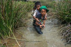 12,Dec,2016 - smile of kids from Churu people play in mud, they catching the fish near by Dalat- Lam Dong- Vietnam. Some kids of Churu people drafting the fish Stock Photography