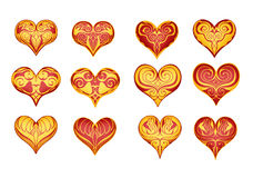 12 decorated hearts Stock Image