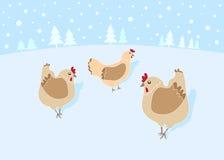 12 dias do Natal: 3 galinhas francesas Imagem de Stock