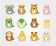 12 dierlijke pictogramreeks, het Chinese dier van de Dierenriem Stock Afbeeldingen
