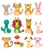 12 dierlijke pictogramreeks, het Chinese dier van de Dierenriem Royalty-vrije Stock Fotografie