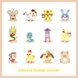 12 dierlijke stickers van de beeldverhaal Chinese Dierenriem Royalty-vrije Stock Foto's