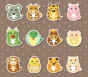 12 etiquetas engomadas chinas del animal del zodiaco ilustración del vector