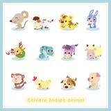 12 etiquetas engomadas chinas del animal del zodiaco de la historieta Foto de archivo libre de regalías