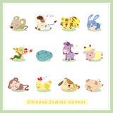 12 etiquetas engomadas chinas del animal del zodiaco de la historieta Imagen de archivo