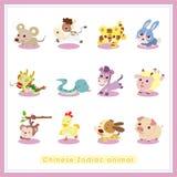12 för Zodiacdjur för tecknad film kinesiska klistermärkear vektor illustrationer