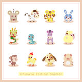 12 för Zodiacdjur för tecknad film kinesiska klistermärkear royaltyfri illustrationer