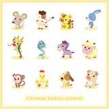 12 för Zodiacdjur för tecknad film kinesiska klistermärkear stock illustrationer