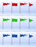 12 flagpoles установили различной Стоковое фото RF