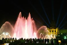 12 fontanny magii montjuic Barcelona Zdjęcia Royalty Free