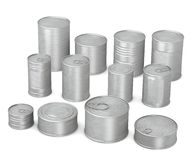 12 food cans. 3d render of 12 food cans Royalty Free Illustration