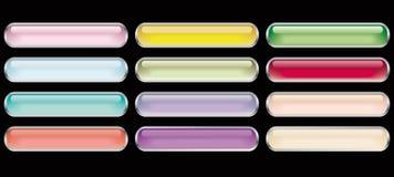 12 glass buttons Stock Photos