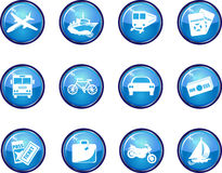 12 Glossy Blue Vector Travel Icons. Stock Image