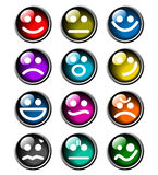 12 glossy smile icons Stock Image
