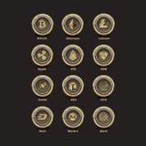 12 Golden Virtual Money Coins Stock Photo