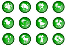 12 green zodiac buttons. Illustration of 12 green zodiac buttons royalty free illustration