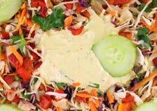 12 groentensalade met saus Stock Afbeelding
