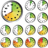 12 Hours clock set. With energy bar Stock Illustration
