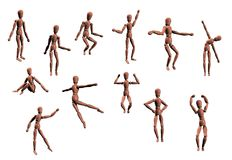 12 Isolated Manikins Posing. 12 isolated digital art model mannequins / manikins posing in various ways such as bending, spinning, dancing, sitting, reaching and Royalty Free Stock Photography