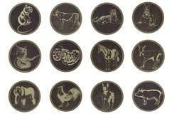 12 kinesiska konstellationer Arkivbild