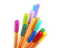 12 kleurrijke highliterpennen Stock Fotografie