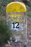 12 km markiera drogi spanish Obrazy Stock