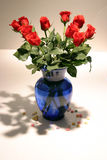 12 long stem red roses in vase. 12 long stem red roses in a blue vase on a white background royalty free stock photo