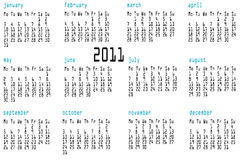 12 month calendar for 2011. A 12 month calendar for 2011 in the computer programming data page style Stock Image